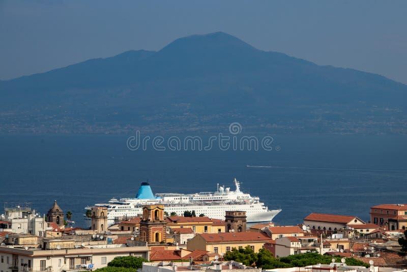View of Mount Vesuvius. A view of Mount Vesuvius from Sorrento, Italy royalty free stock photos