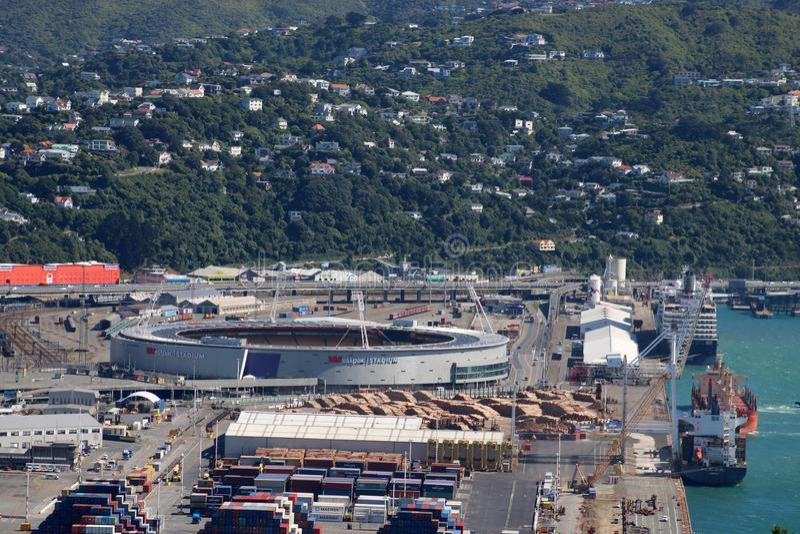 Docks and Westpack stadium Wellington, New Zealand stock photography