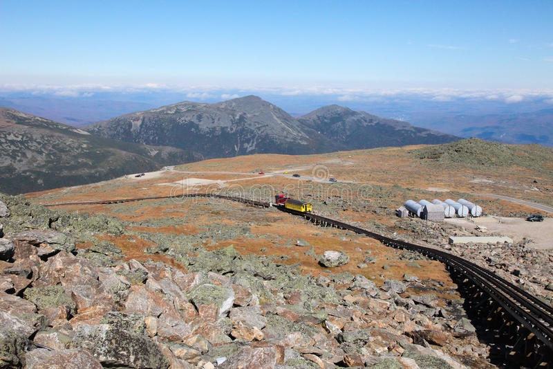 View from Mount Washington. Mount Washington Cog Railroad to the peak in the White Mountains, Coos County, New Hampshire, United States stock photo