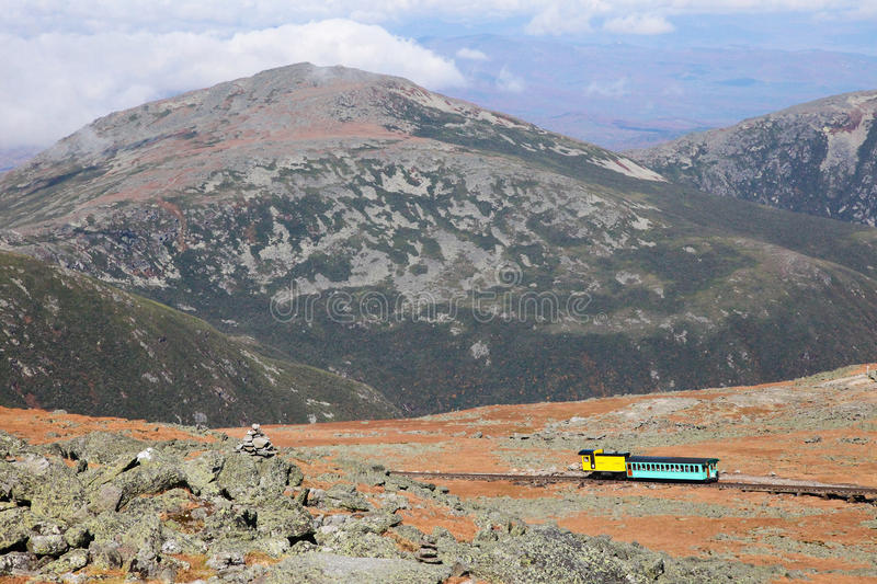 View from Mount Washington. Mount Washington Cog Railroad to the peak in the White Mountains, Coos County, New Hampshire, United States royalty free stock photography