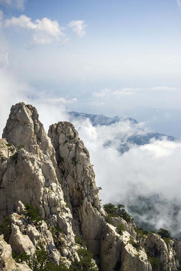 View from the mountain Ai-Petri with clouds, Crimea. royalty free stock photo