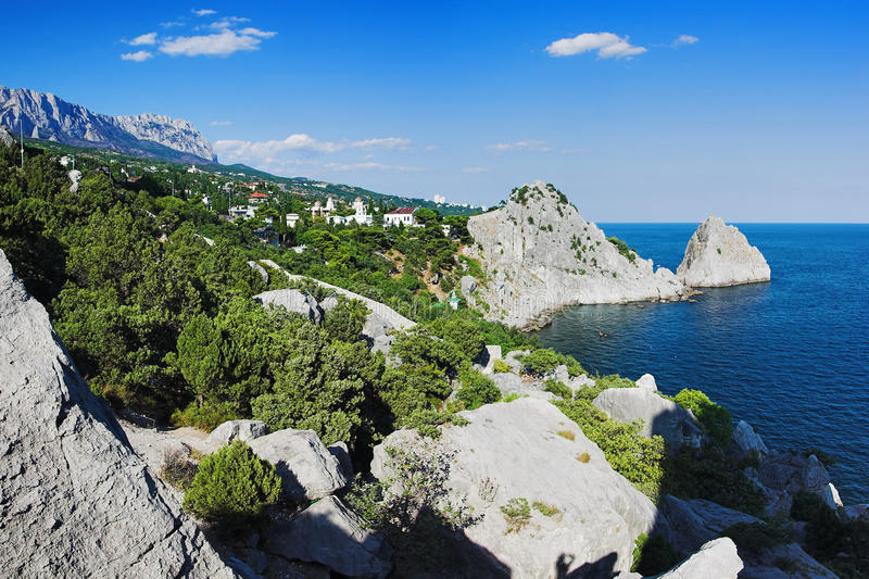 View on mountain Ai-Petri and town Simeiz. View on mountain Ai-Petri, town Simeiz and Panea and Diva rocks in Crimea, Ukraine stock images
