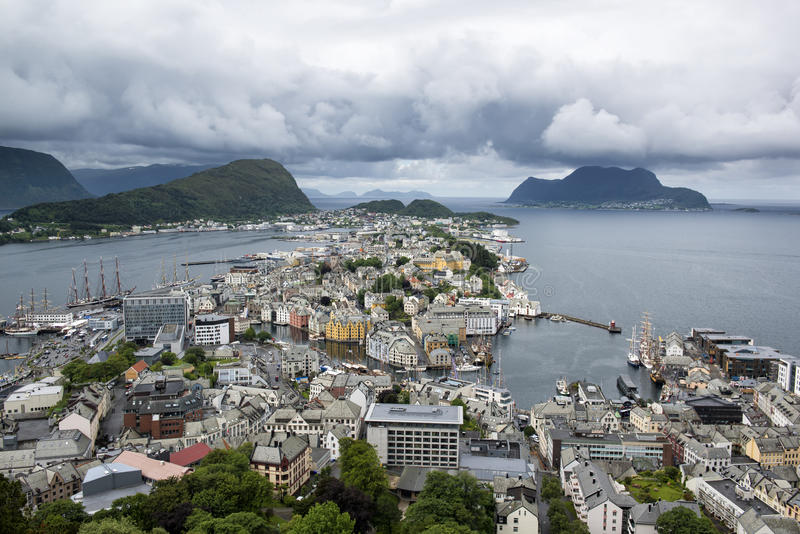 View from the mountain Aksla to the Alesund city, Norway royalty free stock image