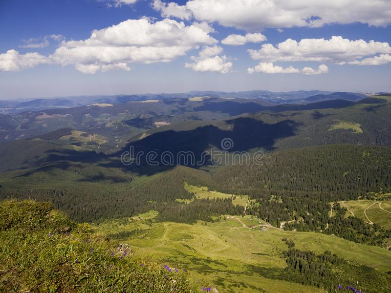View From The Mountain. Carpathian landscape, view from the mountain Petros. Summer Europe Earth royalty free stock image