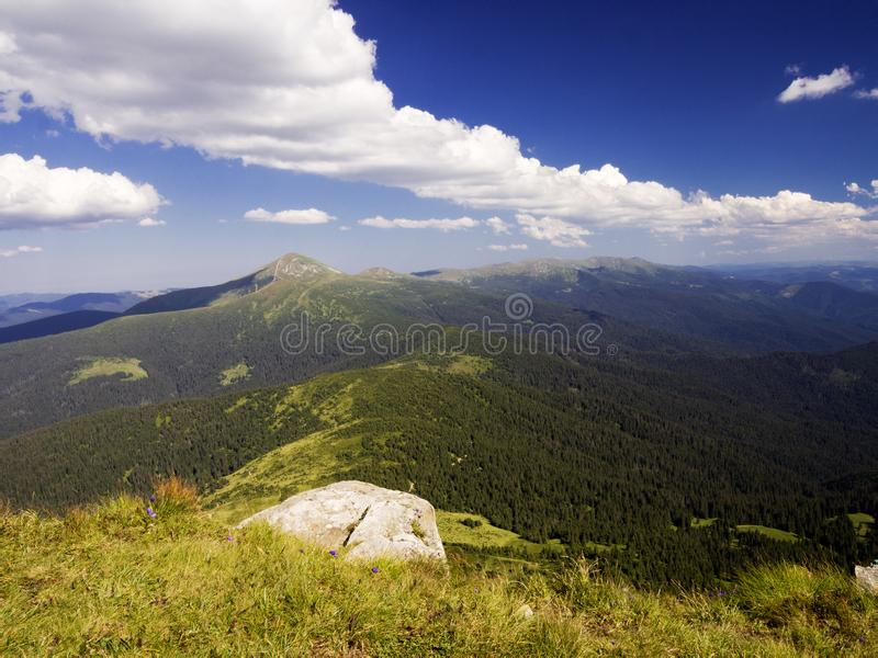 View From The Mountain. Carpathian landscape, view from the mountain Petros. Summer Europe Earth royalty free stock photo
