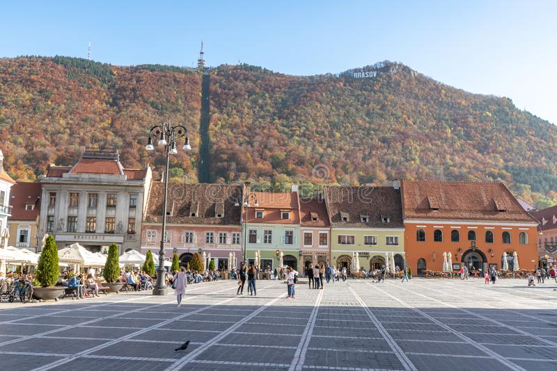 View of the mountain from the central square of the old Brasov in Romania. One of the ten largest cities in Romania. Located in the heart of Romania, the city of royalty free stock image