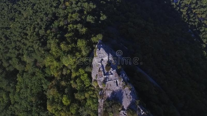 View from the mountain, on a cliff, mountain Crimea. Shot. Aerial view on Mountain landscape and blue sky in Crimean stock images