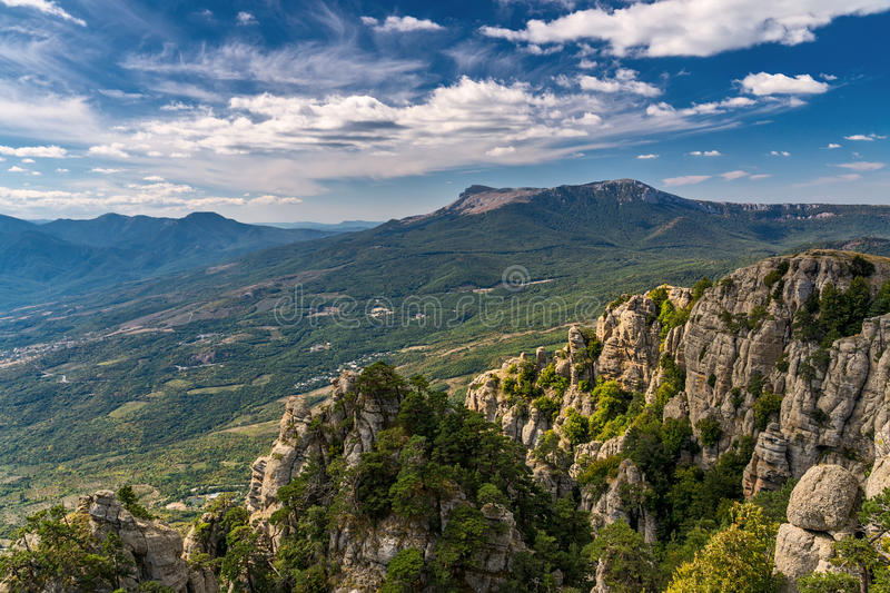 View of the mountain Demerdzhi and Chatyr-Dag. Crimea royalty free stock photo