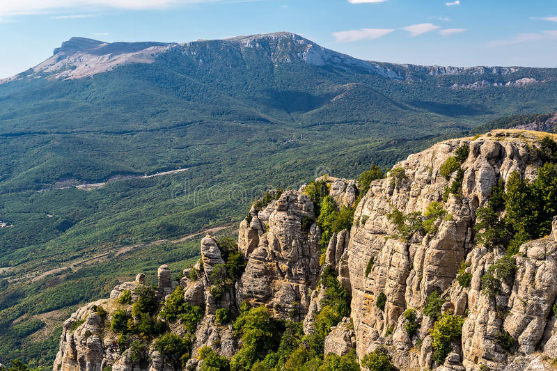 View of the mountain Demerdzhi and Chatyr-Dag. Crimea royalty free stock images