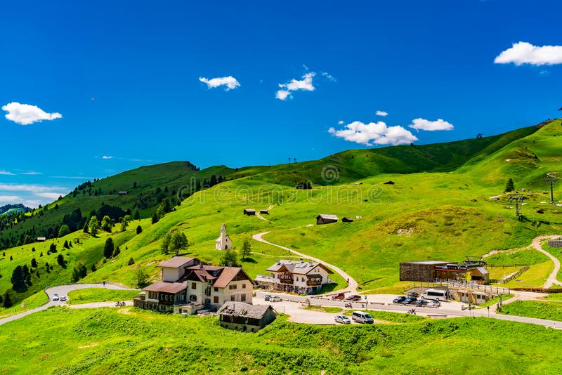 View of the mountain at the Gardena Pass in South Tyrol Italy royalty free stock photography