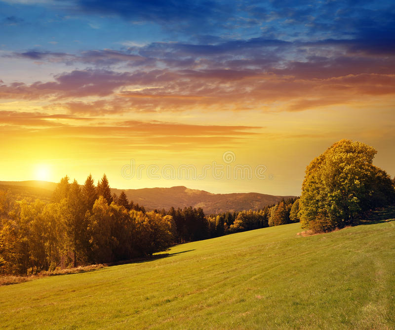 View at mountain Grosser Osser in the National park Sumava, Czech Republic. Summer landscape at sunset royalty free stock photos