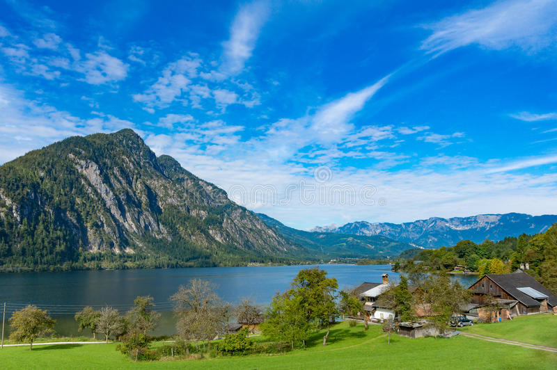 View of mountain and lake in urban of Austria royalty free stock image