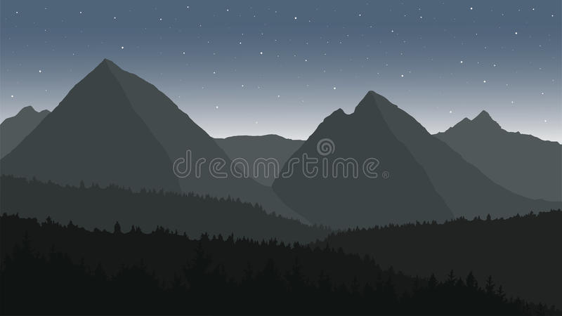 View of the mountain landscape under the night sky stock illustration