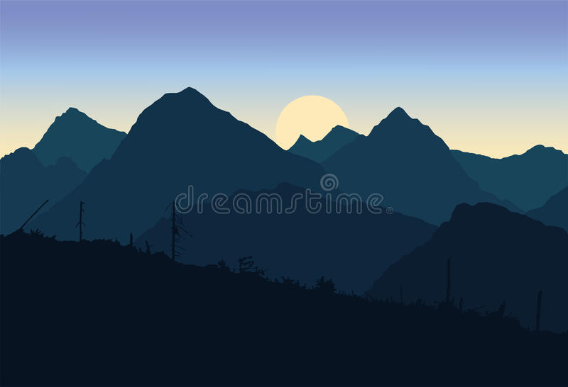 View of mountain landscapes devastated after the apocalypse stock illustration