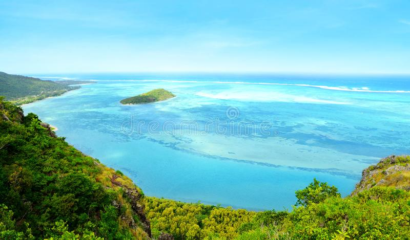 View from the mountain Le Morne Brabant. Mauritius island. royalty free stock images