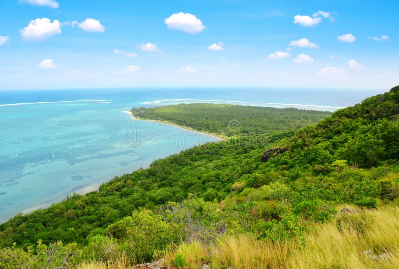 View from mountain Le Morne Brabant on the south of Mauritius island. royalty free stock photo