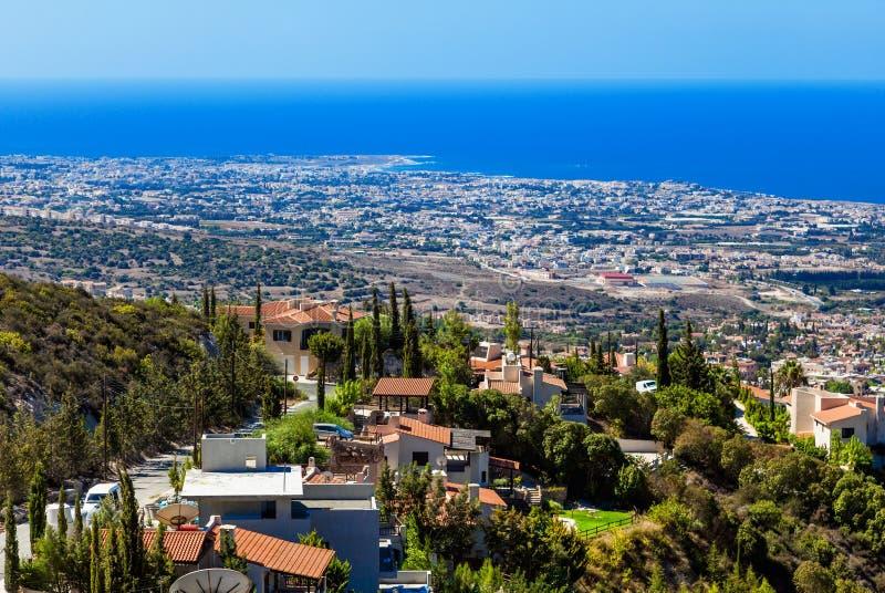 View from mountain, Limassol, Cyprus. Beautiful view from mountain near Limassol, Cyprus stock photography