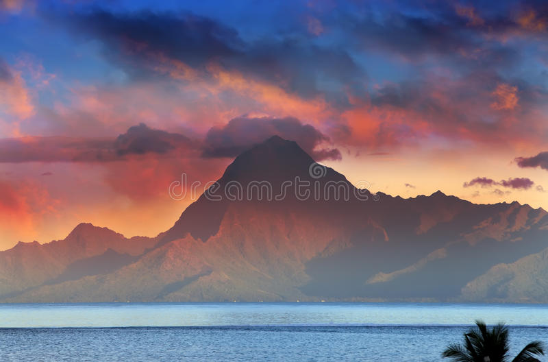 View on mountain Orohena at sunset. Polynesia. Tahiti.  stock photo