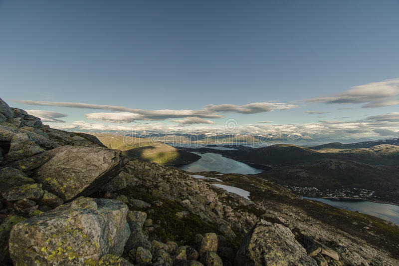 View from mountain outside Tromsoe, Troms, Norway royalty free stock photography