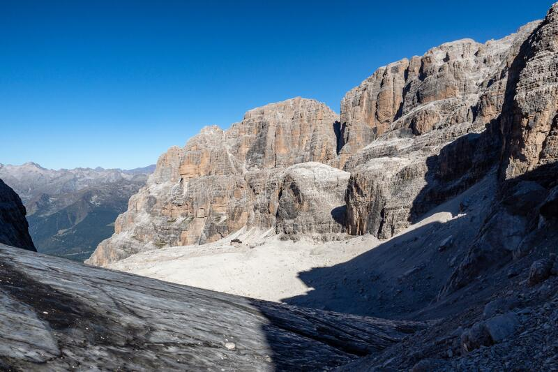 View of the mountain peaks Brenta Dolomites. Trentino, Italy stock photography