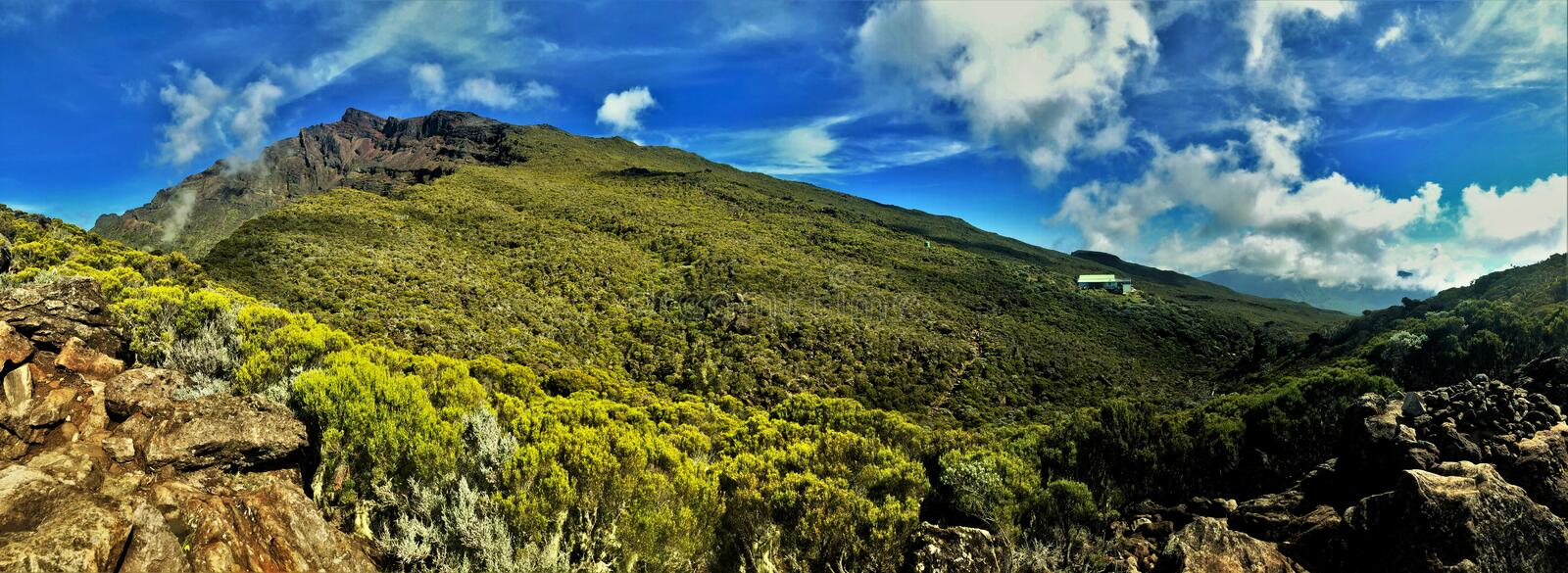 View on piton des neiges on la reunion island royalty free stock image