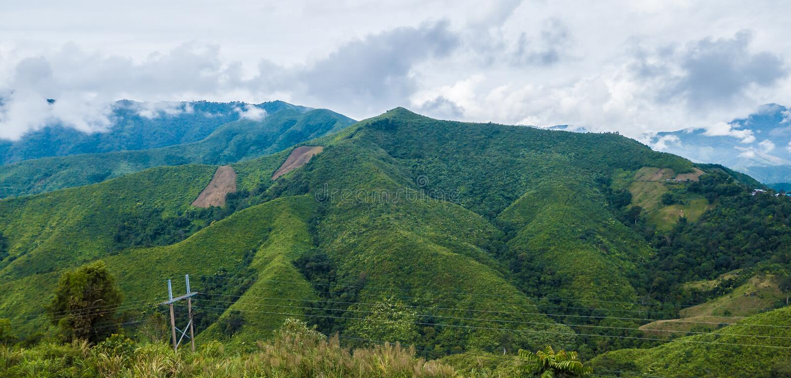View of mountain range forest and Cloud, beautiful nature. At doi phu kha National Park, Nan Province, Thailand royalty free stock images