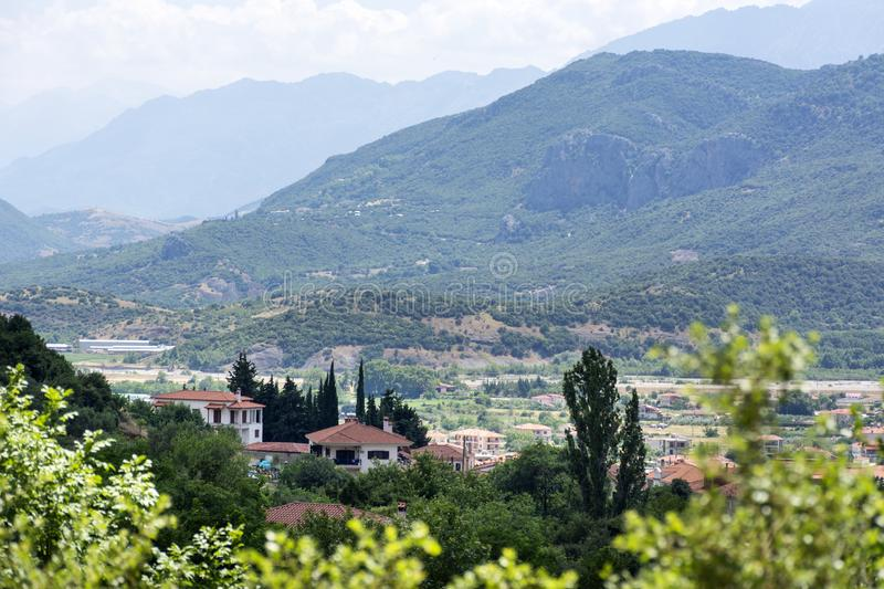 View of the mountain region of Greece, Thessaly, mountain landscape, village in a mountain valley. Mountains covered with greenery, summer royalty free stock photography