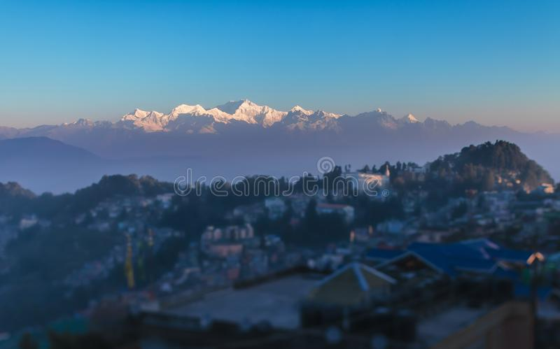 View of a mountain ridge of Kanchendzhonga, from the neighborhood of the city of Darjeeling stock photos