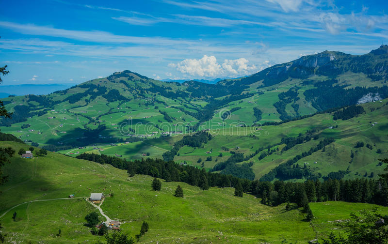 View from in the mountain in Switzerland. royalty free stock photography