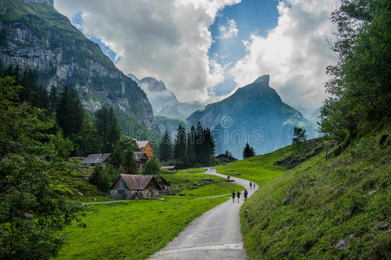 View from in the mountain in Switzerland. stock photos