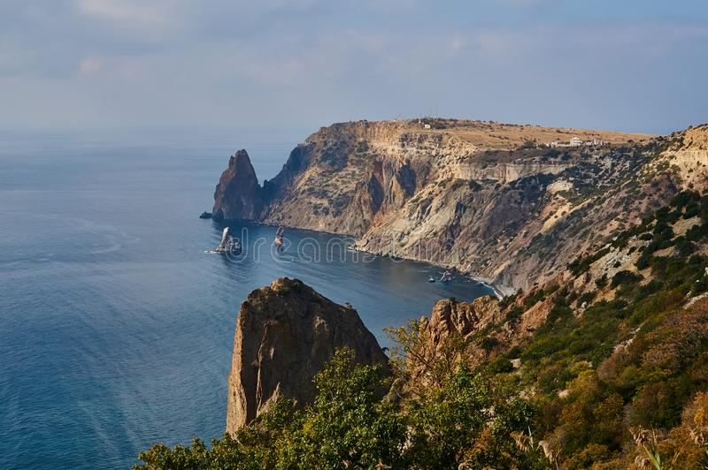 View from the mountain to Cape Fiolent on the Black Sea. Famous place for tourism in Crimea. Sunny summer day. Perfect background royalty free stock image