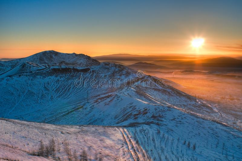 View from the mountain to the evening panorama of the city of Karabash. The city of Karabash Chelyabinsk region, South Ural is perhaps the most ecologically stock photos