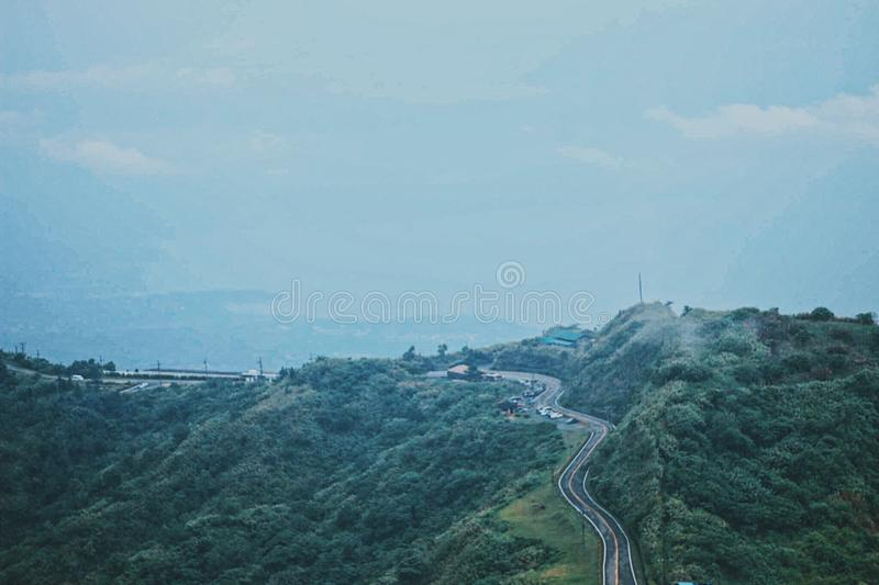 View from the mountain top. Foggy from the mountain top royalty free stock photography