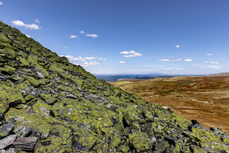 View from the mountain top of Muen in Rondane National Park. Norway stock photography