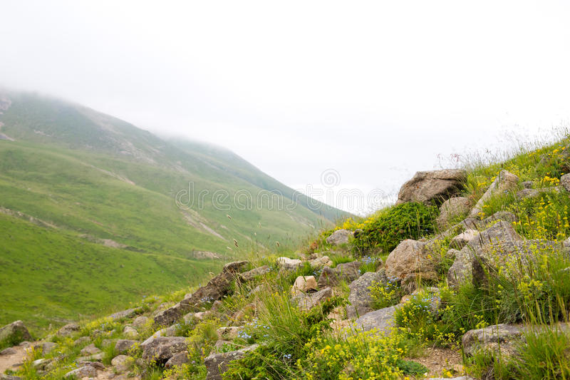 View of the mountain valleys and peaks stock photos