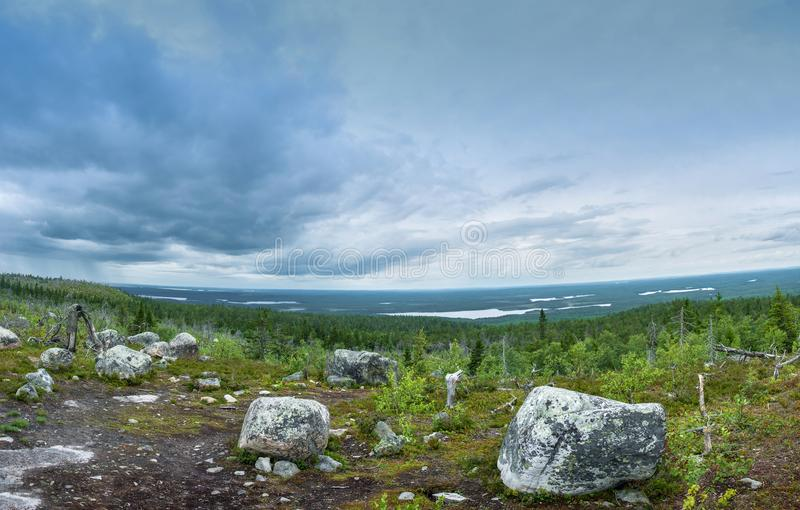 View from mountain Vottovaara, Karelia. stock photos