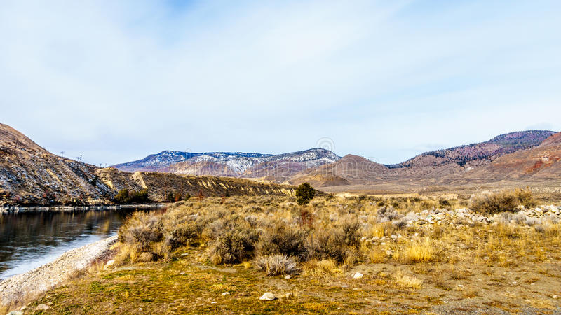 View of the Mountains along the Thompson River on a cold winter day from Juniper Beach Provincial Park royalty free stock photo