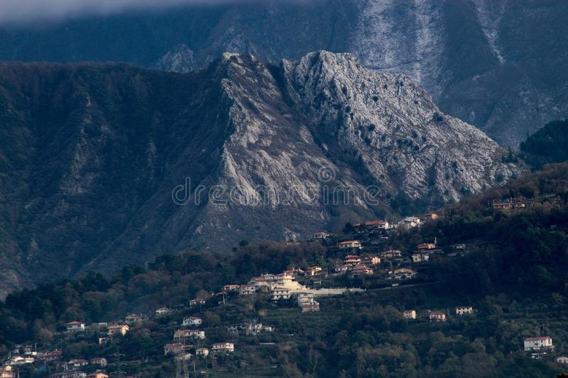 The view of the mountains. These are the mountains , the Alps in Italy stock photography