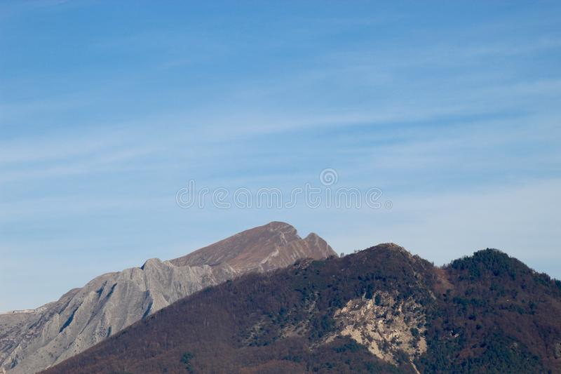 The view of the mountains. These are the mountains , the Alps in Italy at a sunny but also cloudy day royalty free stock photography