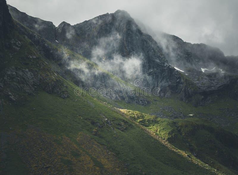 View on the mountains around Flakstad village, noregian Lofoten islands. Summertime royalty free stock photos