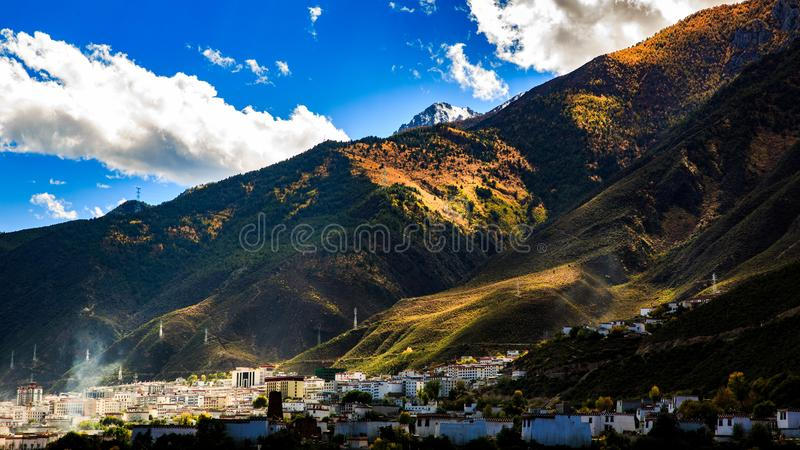 View of mountains in autumn royalty free stock photo