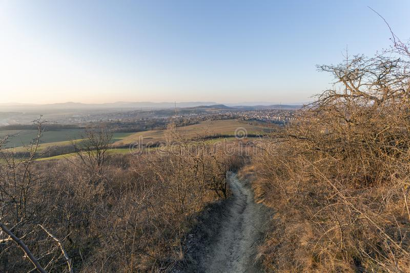 View of the mountains of Buda from Mogyorod. In Hungary royalty free stock images