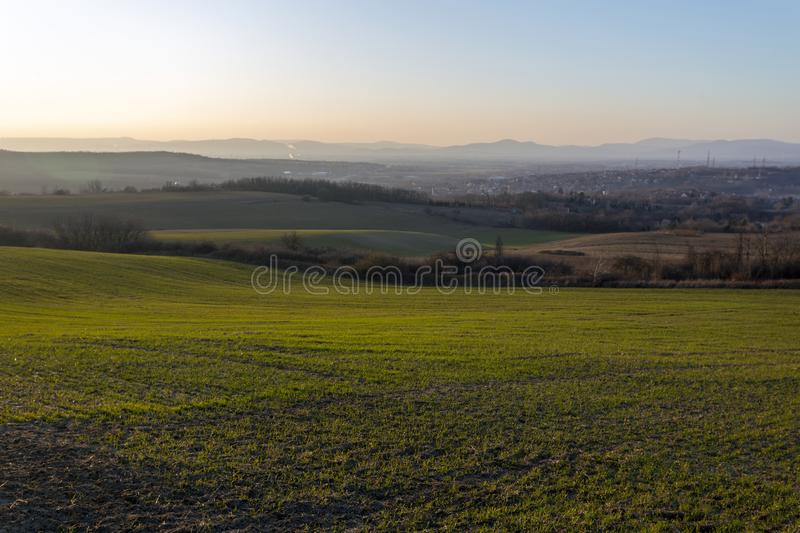 View of the mountains of Buda from Mogyorod. In Hungary stock photos