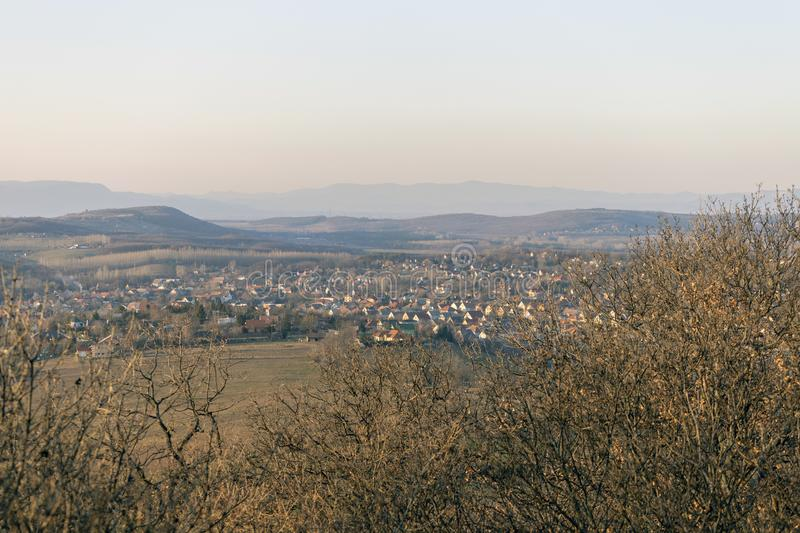 View of the mountains of Buda from Mogyorod. In Hungary stock image