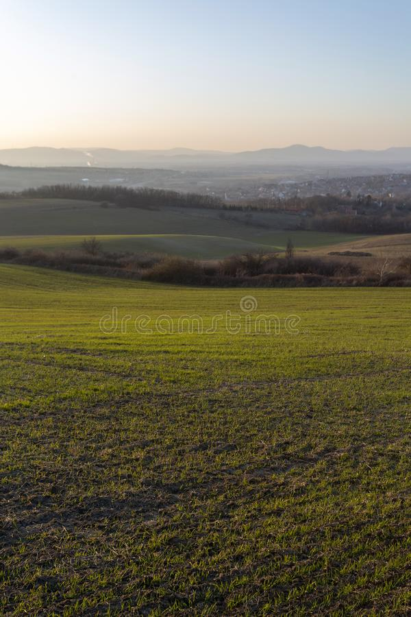 View of the mountains of Buda from Mogyorod. In Hungary stock photography