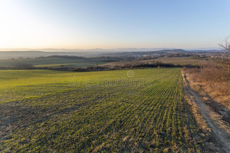 View of the mountains of Buda from Mogyorod. In Hungary stock photo
