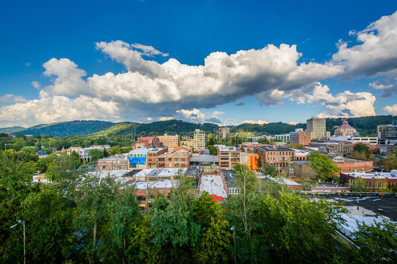 View of mountains and buildings in downtown Asheville, North Car. Olina stock photos
