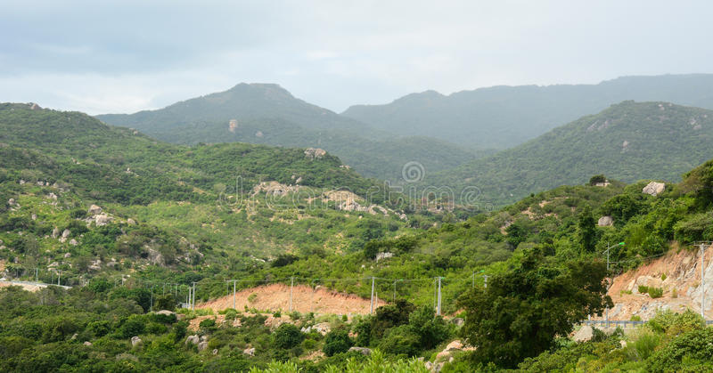 View of the mountains at Cam Lam town in Khanh Hoa province, Vietnam.  royalty free stock photo