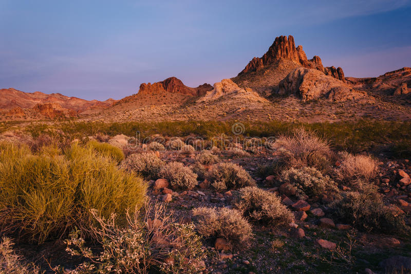 View of mountains in the desert at sunset near Oatman, Arizona. stock photo
