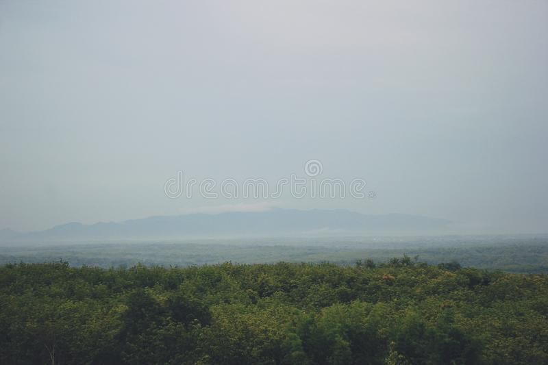 View of the Mountains in Gunungkidul Indonesia. The best and most charming vacation spot royalty free stock image